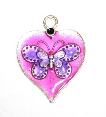 1pce x 26mm*19mm Purple enameled alloy heart charms / pendants with butterfly design